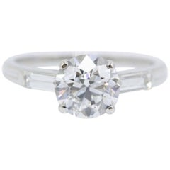 Tiffany & Co Vintage Old Cut Diamond Engagement Ring with Baguettes 1.72 Carat