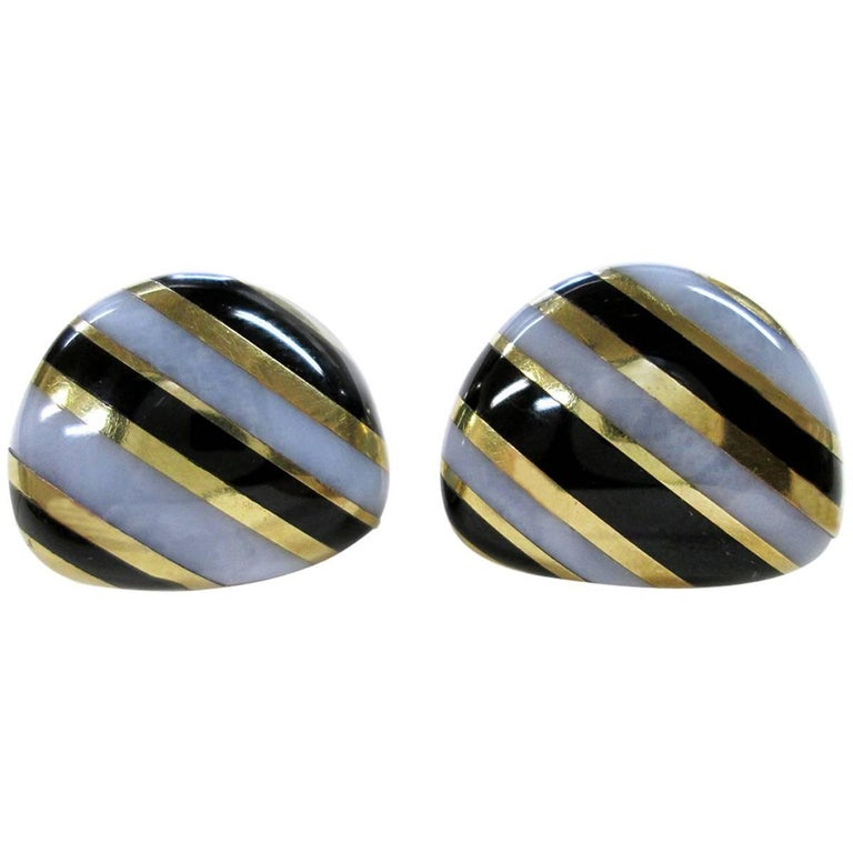 Tiffany & Co. Vintage Onyx, White Agate and Gold Striped Earrings For Sale