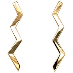 Tiffany & Co. Vintage Paloma Picasso 18k Yellow Gold Lightning Bolt Earrings