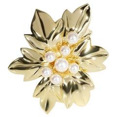 Tiffany & Co. Vintage Pearl Poinsettia Brooch in 18 Karat Yellow Gold