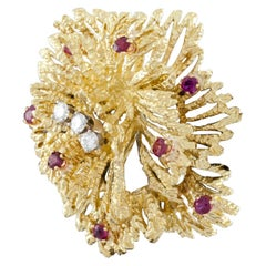 Tiffany & Co. Vintage Ruby and Diamond 18 Karat Yellow Gold Brooch