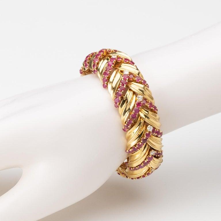 Brilliant Cut Tiffany & Co VintageRuby, Diamond, and 18k Gold Bracelet For Sale