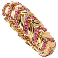 Tiffany & Co Vintage Ruby, Diamond, and 18k Gold Bracelet