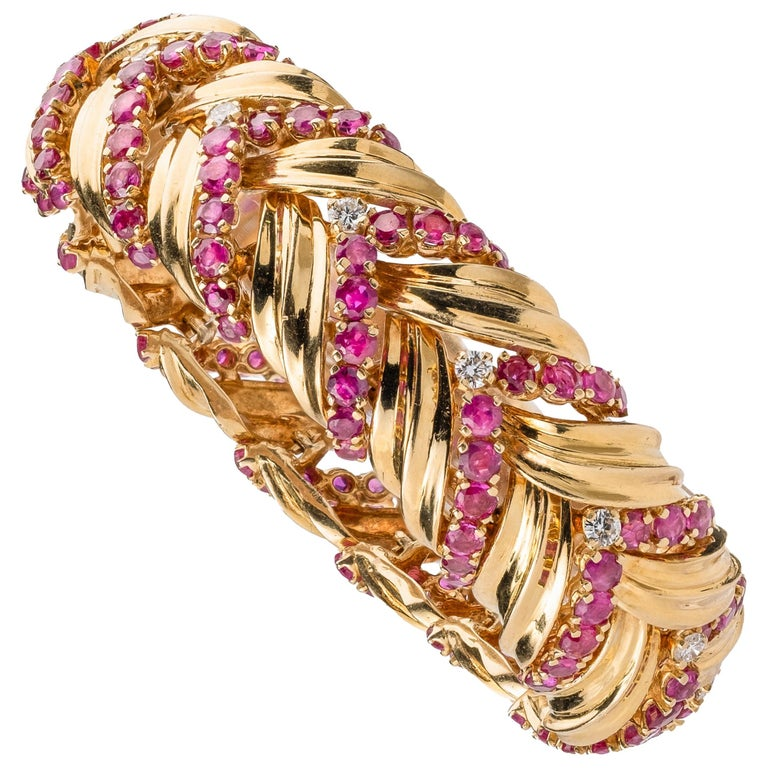 Tiffany & Co VintageRuby, Diamond, and 18k Gold Bracelet For Sale