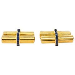 Tiffany & Co. Vintage Sapphire 14 Karat Gold Cufflinks