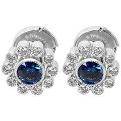 Tiffany & Co. Vintage Sapphire and Diamond Flower Earrings