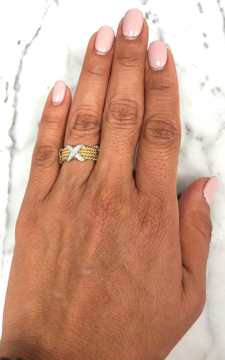 Tiffany & Co. Vintage Schlumberger X 4 Row Rope Ring in 18k and Platinum 3