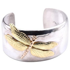 Tiffany & Co. Vintage Sterling Silver and 18 Karat Two-Tone Dragon Fly Cuff