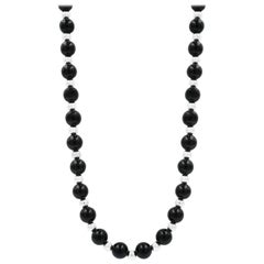 Tiffany & Co. Vintage Sterling Silver Black Onyx Bead Necklace