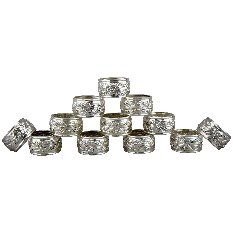 Fancy Silver Meandros Pattern Napkin Rings Set of 4