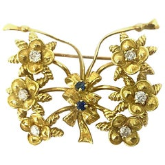 Tiffany & Co. Vintage Yellow Gold Diamond Sapphire Butterfly Brooch Pin