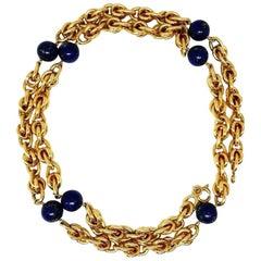 Tiffany & Co. Vintage Yellow Gold Lapis Lazuli Chain Necklace