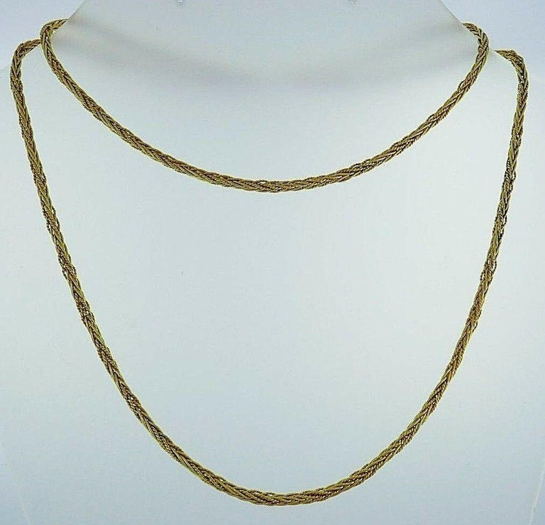 Tiffany & Co. Vintage Yellow Gold Wheat Chain Necklace In Excellent Condition For Sale In Beverly Hills, CA