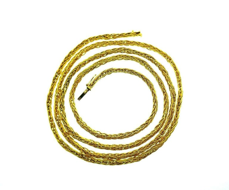 Tiffany & Co. Vintage Yellow Gold Wheat Chain Necklace For Sale 3