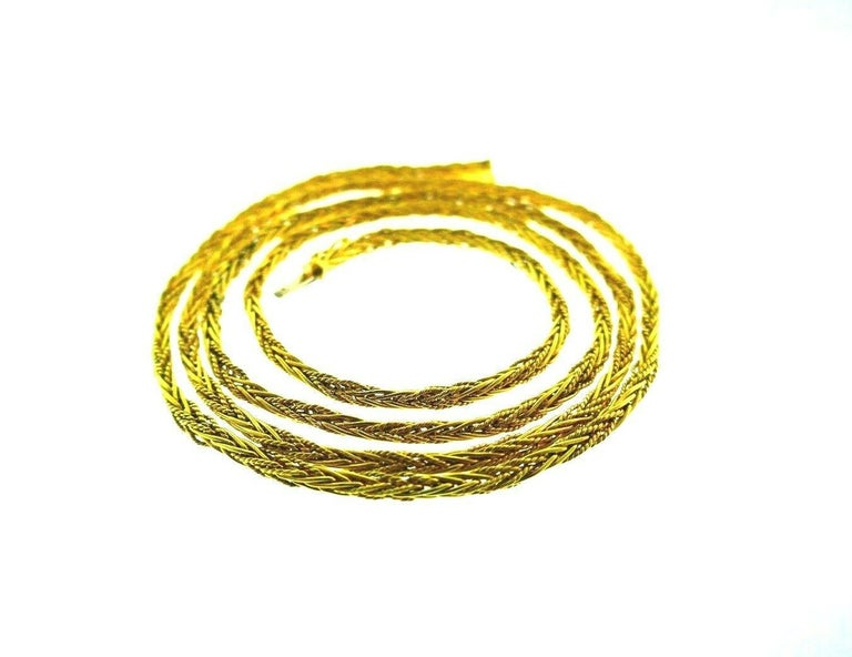Tiffany & Co. Vintage Yellow Gold Wheat Chain Necklace For Sale 4