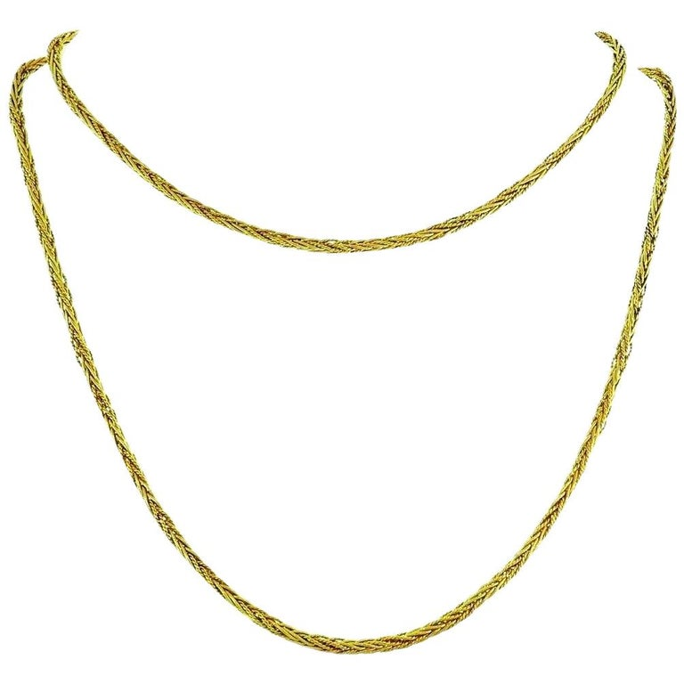 Tiffany & Co. Vintage Yellow Gold Wheat Chain Necklace For Sale