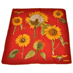 """Tiffany & Co. Vividly Colorful """"Blooming Sunflowers"""" Silk Scarf."""