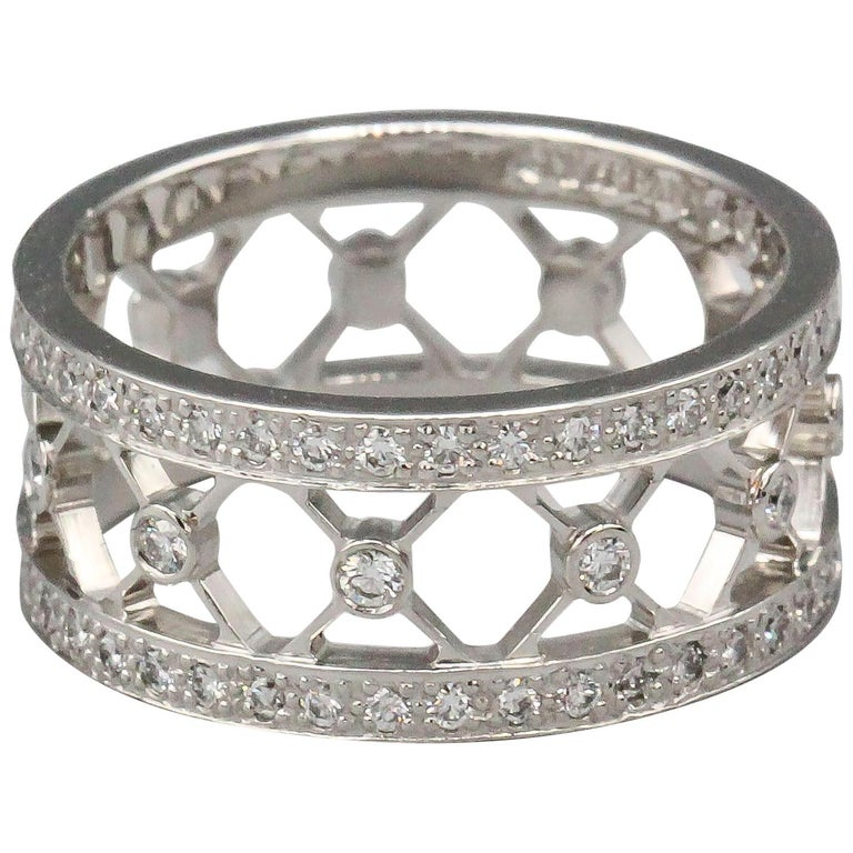 Tiffany & Co. Voile Diamond and Platinum Band For Sale