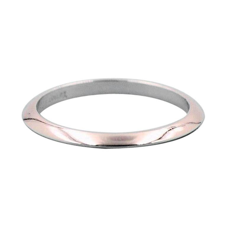 Tiffany Co Platinum Lucida 2mm Wedding Band Ring Sz 8: Tiffany And Co. Wedding Band Ring Knife Edge Design In