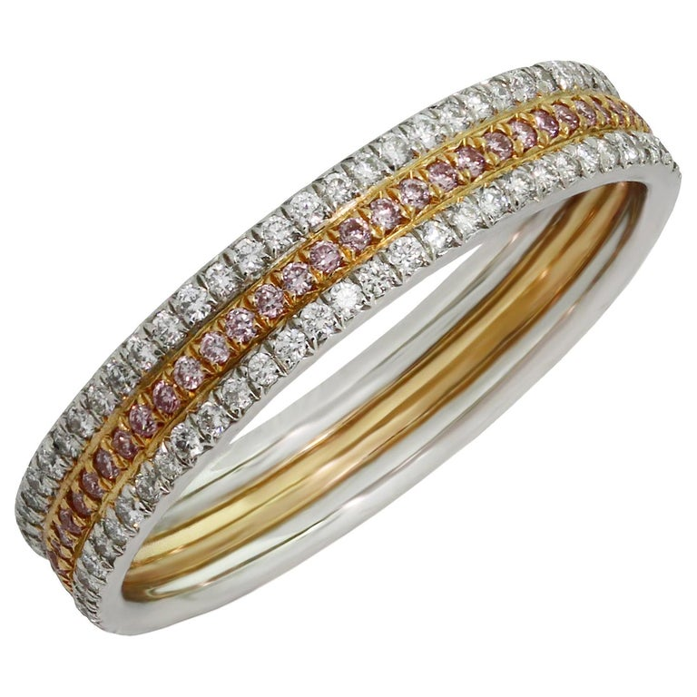 Tiffany & Co. White and Pink Diamond Platinum Rose Gold Band Ring For Sale