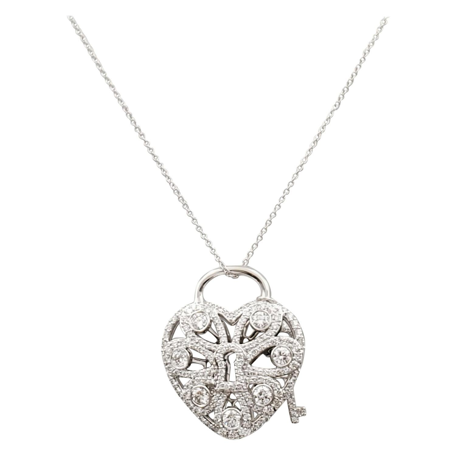 Tiffany & Co. White Gold and Diamond 'Filigree' Heart and Key Pendant Necklace