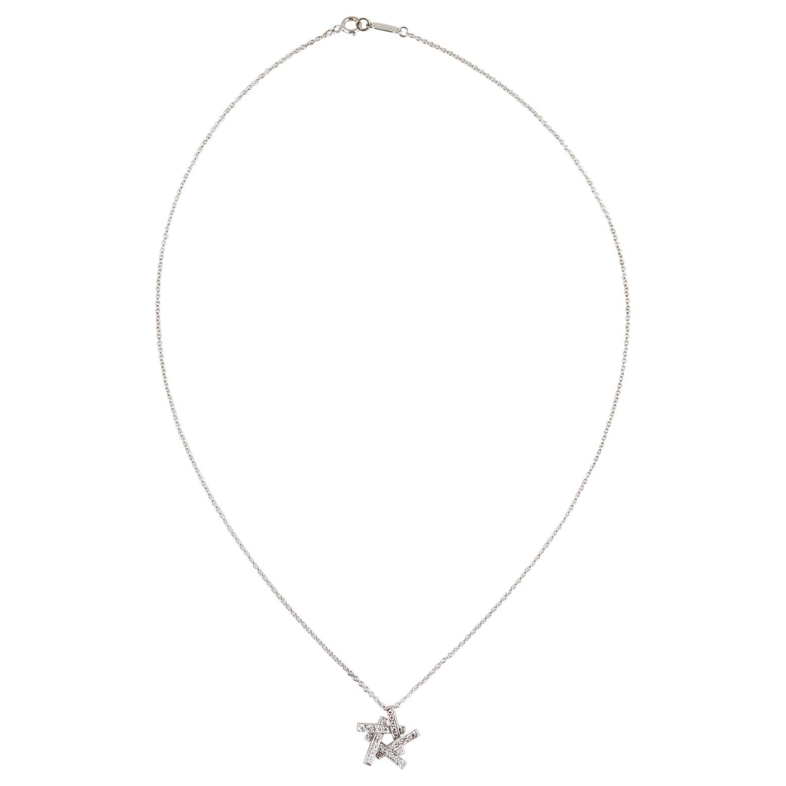 Tiffany & Co. Axis 18K White Gold Diamond Pendant Necklace