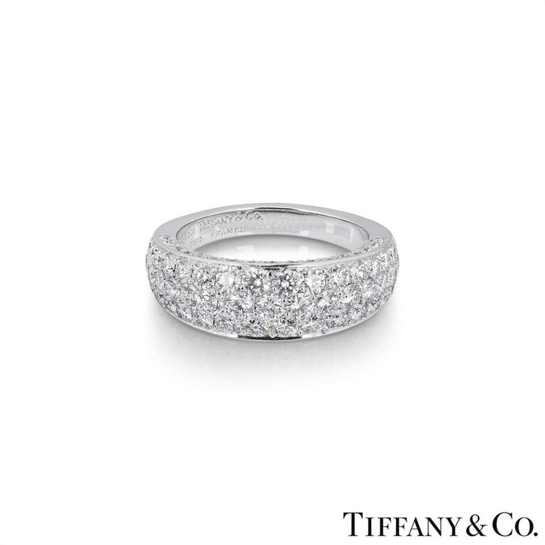 Round Cut Tiffany & Co. White Gold Pave Diamond Dome Band Ring For Sale