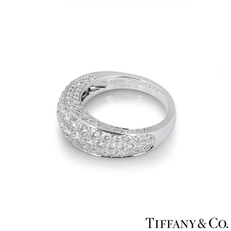 Tiffany & Co. White Gold Pave Diamond Dome Band Ring In Excellent Condition For Sale In London, GB