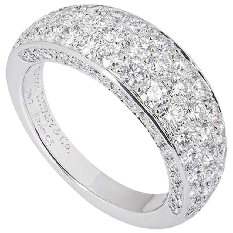 Tiffany & Co. White Gold Pave Diamond Dome Band Ring For Sale