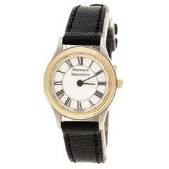 Tiffany & Co. White Gold Tone Stainless Steel Portfolio Women's Wristwatch 24 mm