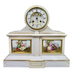Tiffany & Co. White Marble Mantle Clock