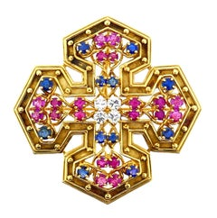 Tiffany & Co. White Pink Blue Sapphire Maltese Cross Brooch or Pendant
