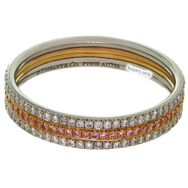 Tiffany & Co. White and Pink Diamond Platinum Rose Gold Band Ring In Excellent Condition For Sale In New York, NY