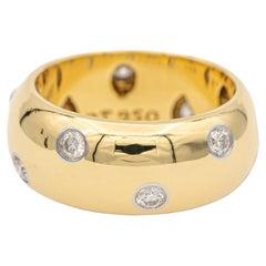 Tiffany & Co. Wide Etoile 18k Yellow Gold Diamond and Platinum Band