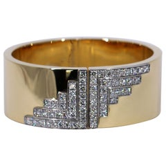 Tiffany & Co. Wide Gold Cuff with Art Deco Inspired Geometric Diamond Design