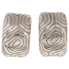 Tiffany & Co. Wood collection Large Sterling Earrings, 1990s