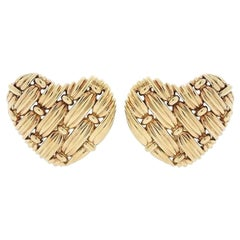 Tiffany & Co. Woven Heart 'Signature Series' Ear Clips, 1990s