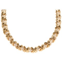 Tiffany & Co. X-Collection Diamond Necklace in 18 Karat Yellow Gold 8.28 Carat