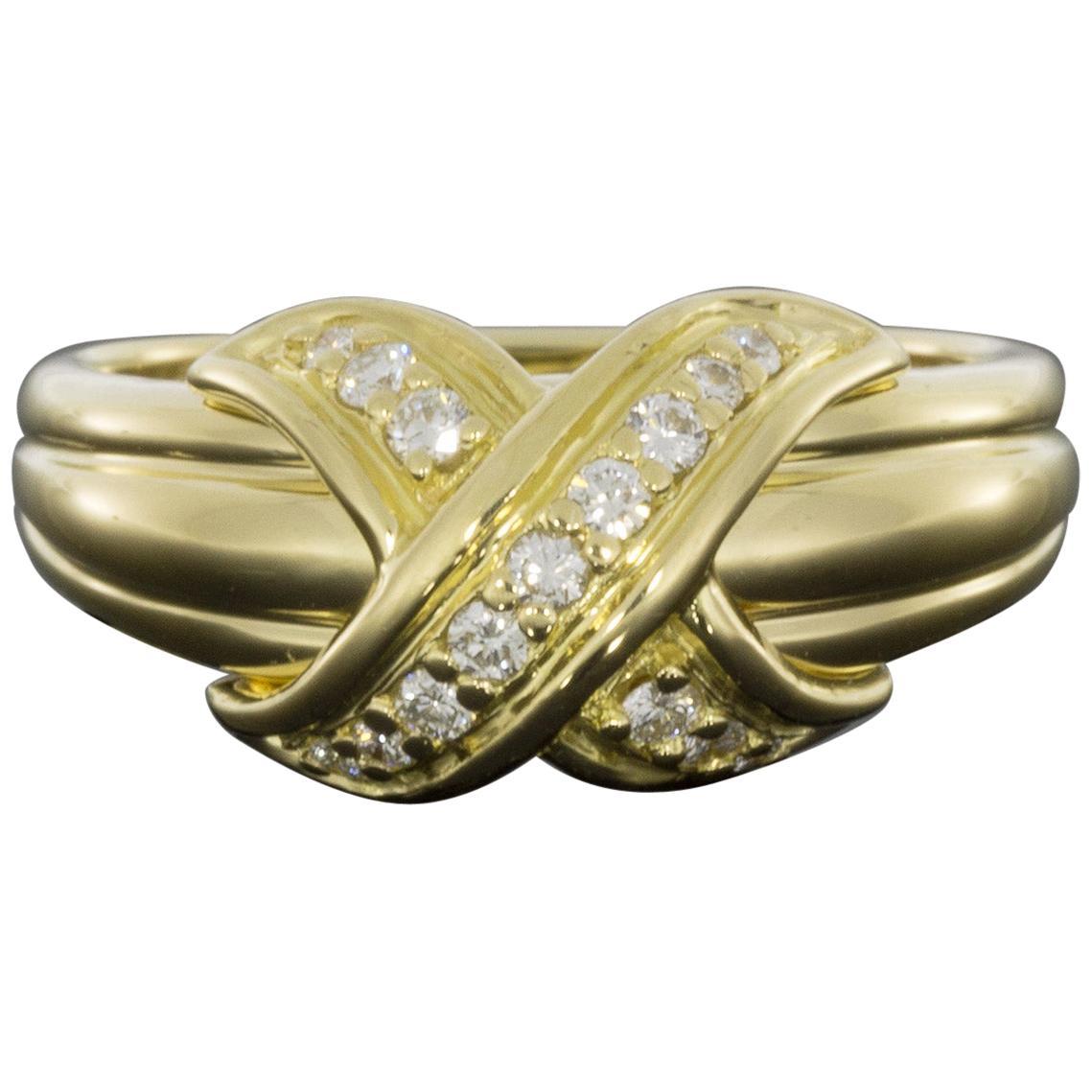 Tiffany & Co Yellow Gold 0.18 Carat Round Diamond Statement Ladies Fashion Ring
