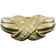 Tiffany & Co Yellow Gold 0.18 Carat Round Diamond Statement Ladies Fashion Ring