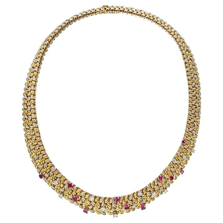 Tiffany & Co. Yellow Gold 18 Karat Diamond and Ruby Collar Necklace For Sale