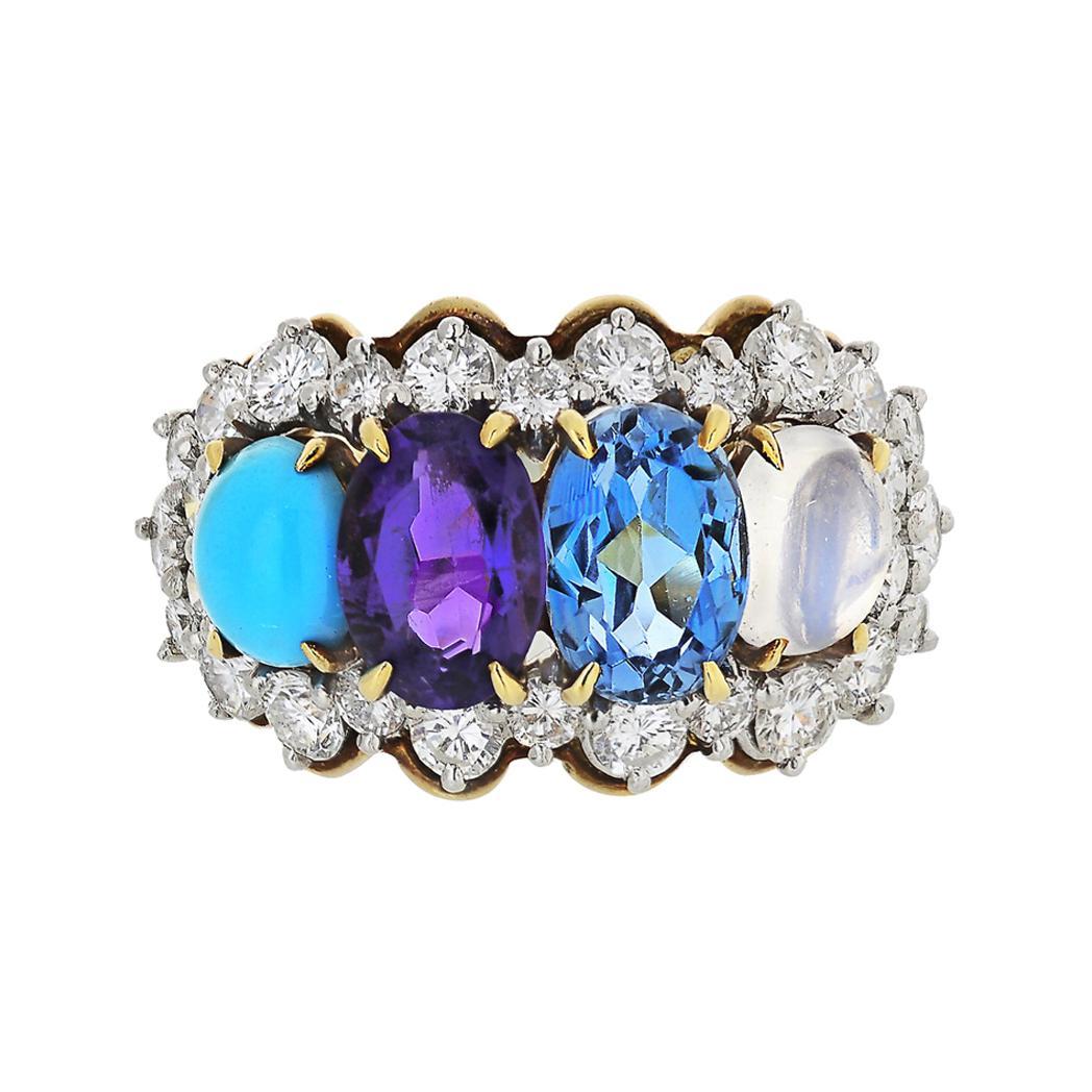 Tiffany & Co. Yellow Gold Amethyst Moonstone Topaz Turquoise Diamond Ring
