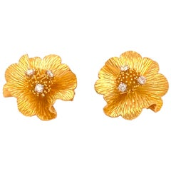 Tiffany & Co. Yellow Gold and Diamond Flower Earrings, Signed