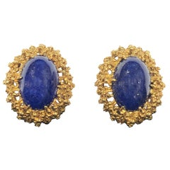 Tiffany & Co. Yellow Gold and Lapis Earrings