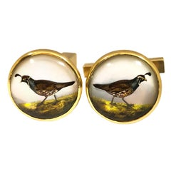 Tiffany & Co. Yellow Gold and Reverse Crystal Quail Hunting Cufflinks