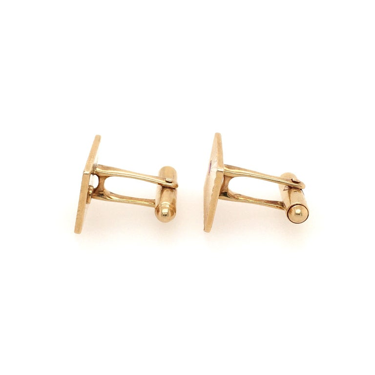 Round Cut Tiffany & Co. Yellow Gold and Ruby Cufflinks