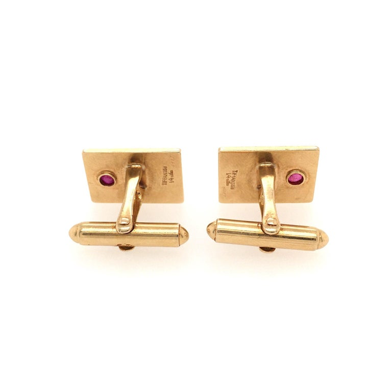 Tiffany & Co. Yellow Gold and Ruby Cufflinks In Good Condition In New York, NY