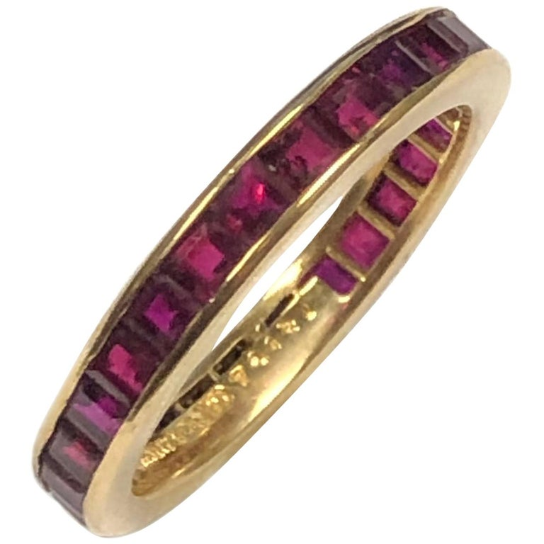 Tiffany & Co. Yellow Gold and Ruby Eternity Band Ring For Sale