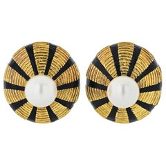 Tiffany & Co. Yellow Gold Black Enamel and Pearl Omega Taj Mahal Clip-On Earring