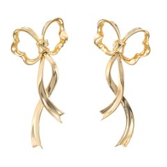 Tiffany & Co. Yellow Gold Bow Drop Earrings